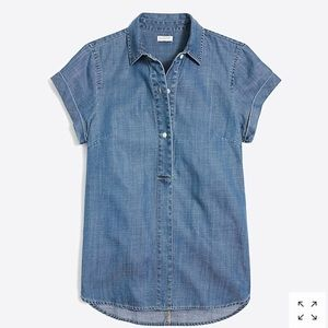 j crew chambray popover short sleeve blouse small